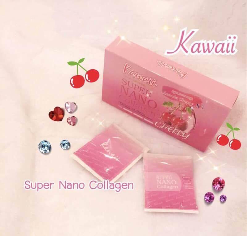 Kawaii ,Super nano collagen Acerolay Cherry , ซุปเปอร์นาโน แพคเก็จใหม่ แบบกล่อง