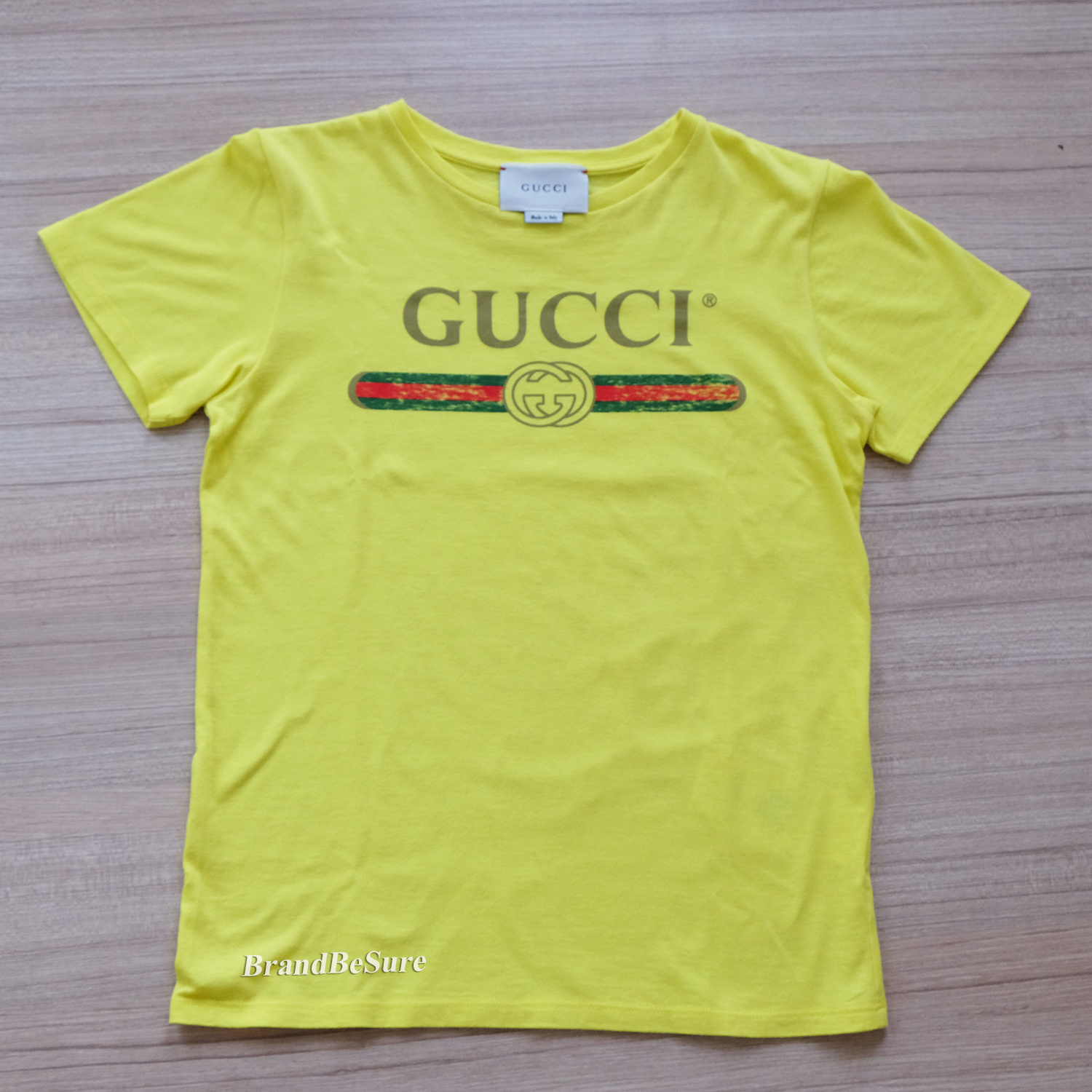 7be280ee Gucci Yellow With Gucci Logo Short Sleeve T-Shirt Size 10 (XS ...