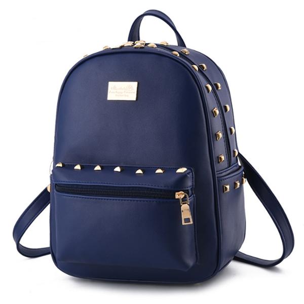 [ Pre-Order ] - กระเป๋าเป้แฟชั่น สไตล์ยุโรป สีน้ำเงินเข้ม แบบหนังเรียบ ปักหมุดขอบๆ สุดเท่ ดีไซน์สวยเก๋ๆ ใช้ได้ทั้งหนุ่มๆสาวๆ ที่ชอบงานมีสไตล์เป็นของตัวเอง