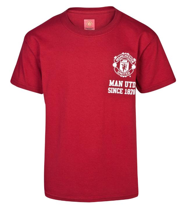 เสื้อแมนเชสเตอร์ ยูไนเต็ด Crest T-Shirt - Boys Red สำหรับเด็กชายของแท้ 100%