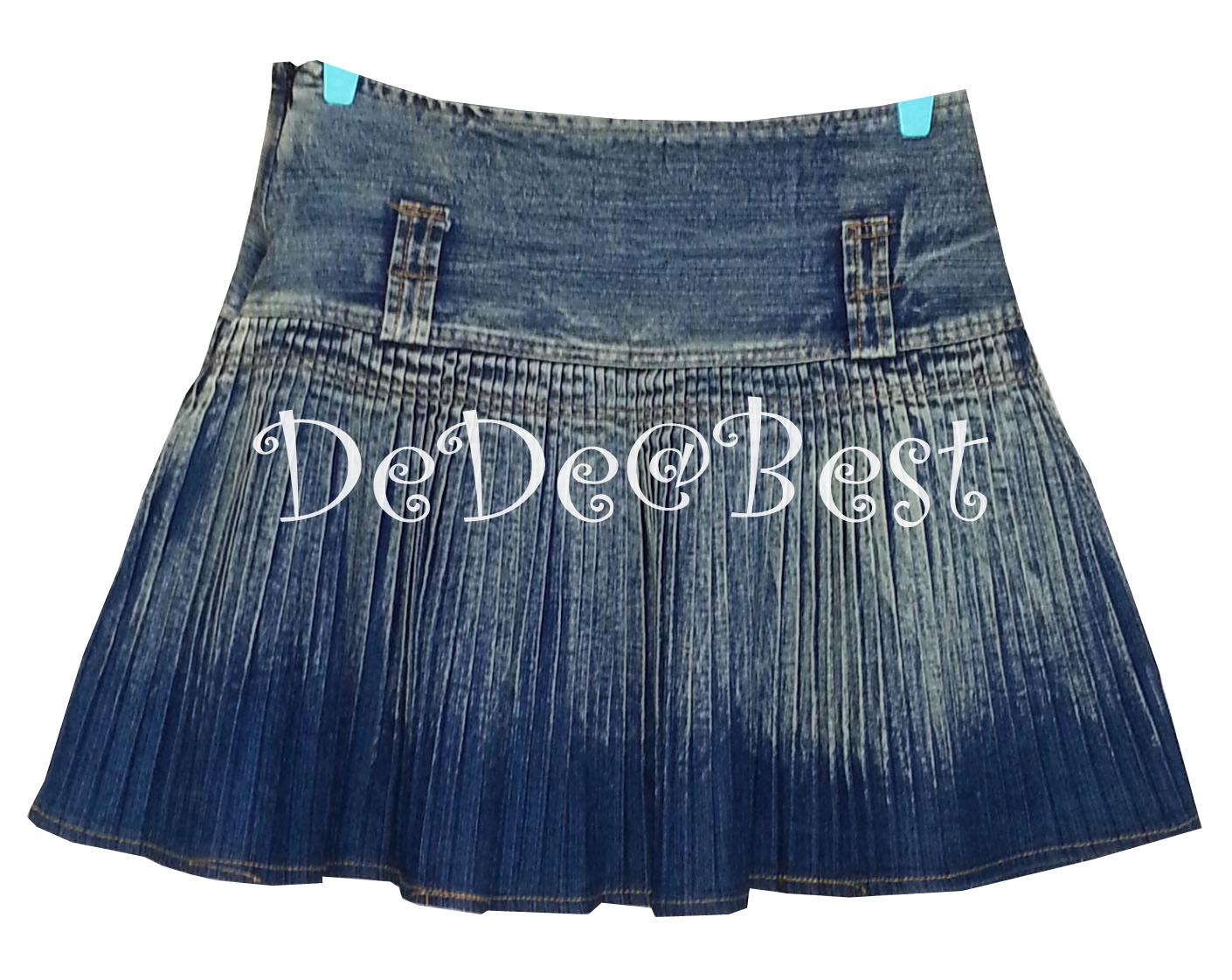 ขายแล้วค่ะ S5:2nd hand skirt กระโปรงยีนส์อัดพรีทเล็ก ๆ รอบตัว สวยน่ารักค่ะ&#x2764
