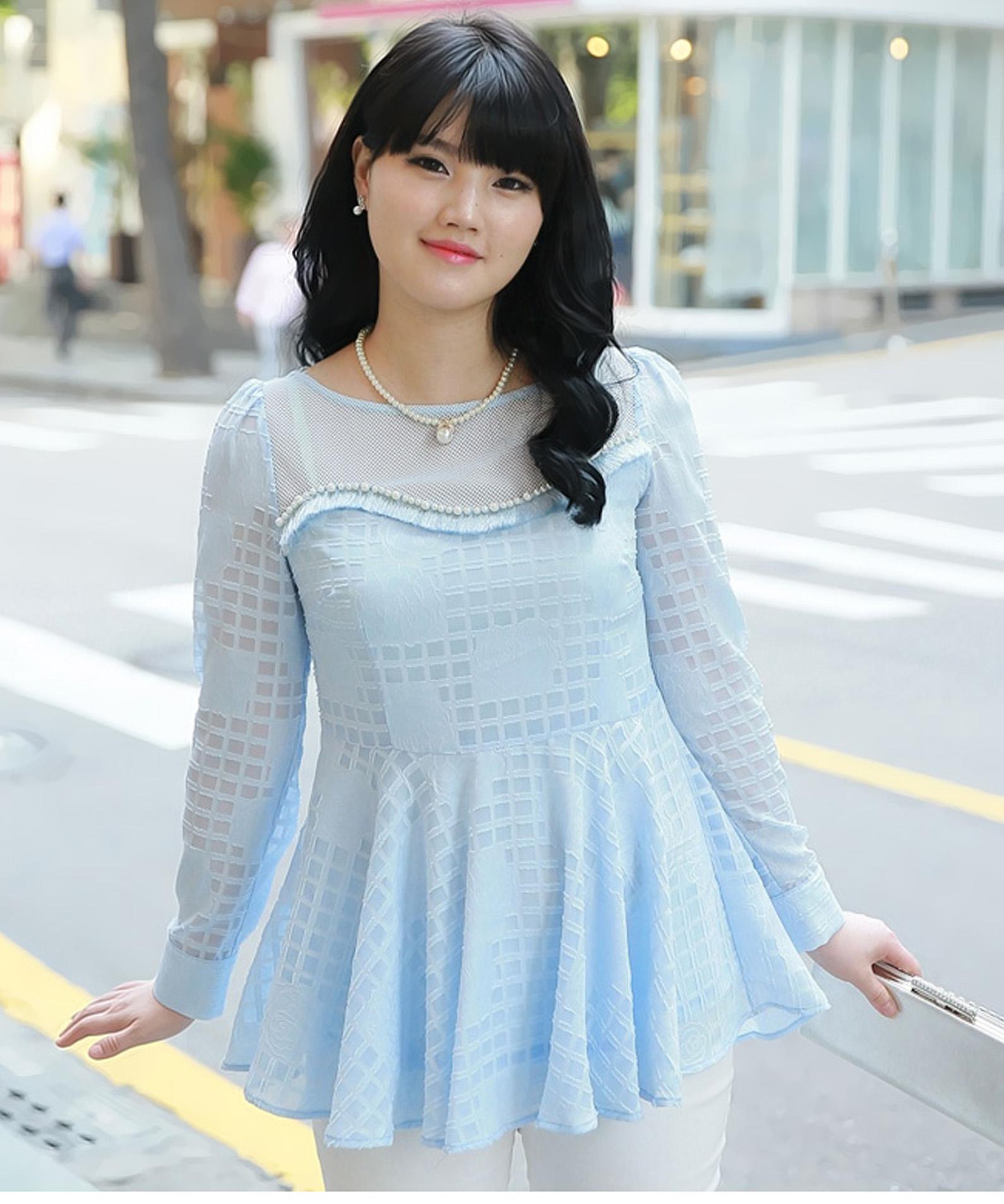 เสื้อชีฟองไซส์ใหญ่สีฟ้า ติดไข่มุกสวยหรู (L) A-98406