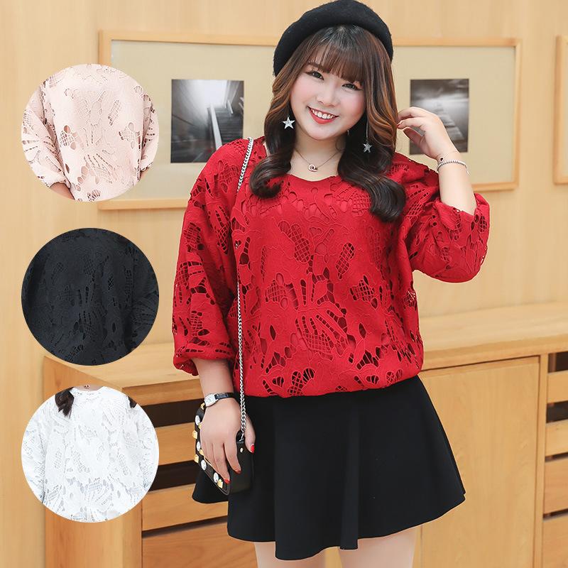 เสื้อลูกไม้ลายฉลุสวย ๆ สำหรับสาวไซส์ใหญ่ มี 4 สีให้เลือก สีขาว/สีดำ/สีแดง (XL,2XL,3XL) Ai-2621