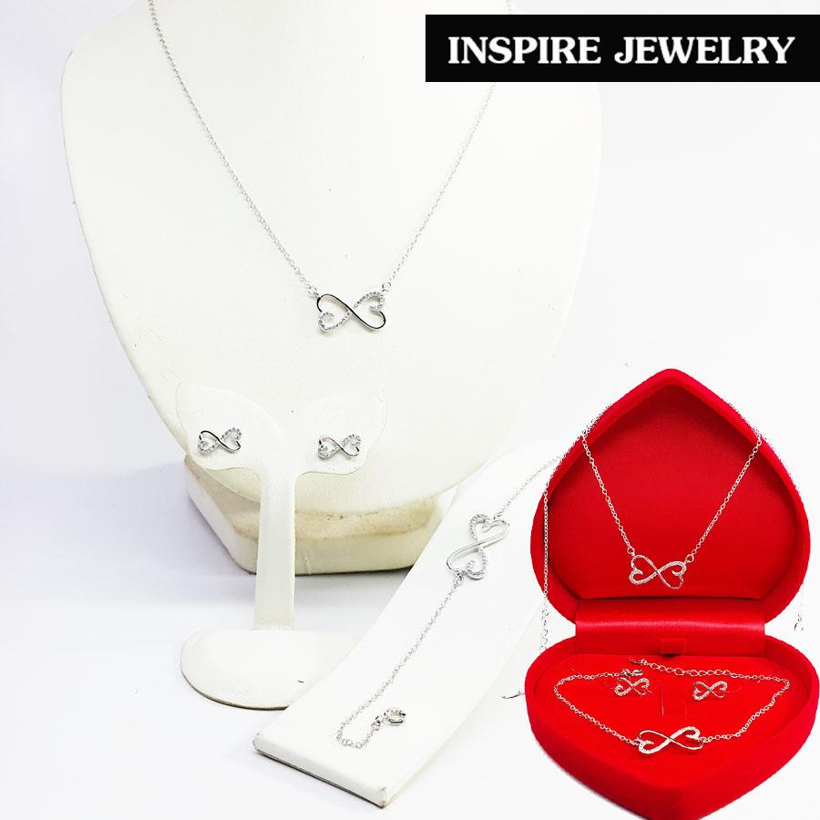 Inspire Jewelry ,ชุดเซ็ท สร้อยคอ สร้อยข้อมือ พร้อมต่างหู infinity ฝังเพชรสวิส พร้อมกล่องกำมะหยี่สวยหรู งาน Design ตัวเรือนหุ้มทองแท้ 100% 24K สวยหรู พร้อมกล่องกำมะหยี่สวยหรู สำหรับคนพิเศษ ใส่เอง เป็นของขวัญของฝาก วาเลนไทน์ วันเกิด ตรุษจีนฯลฯ