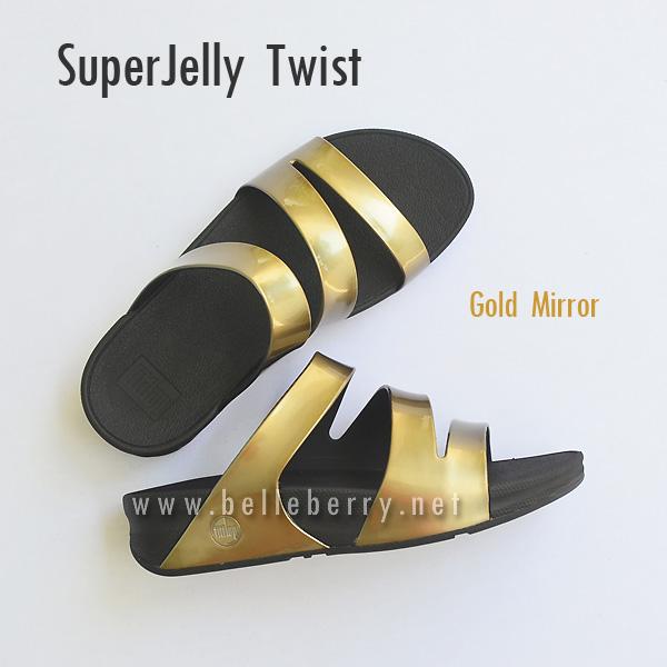 **พร้อมส่ง** FitFlop SUPERJELLY TWIST : Gold Mirror : Size US 9 / EU 41