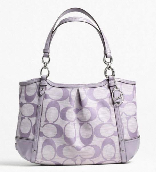 COACH ALEXANDRA CHAIN SHANTUNG TOTE #  21919 สี Silver/Lilac/Lilac