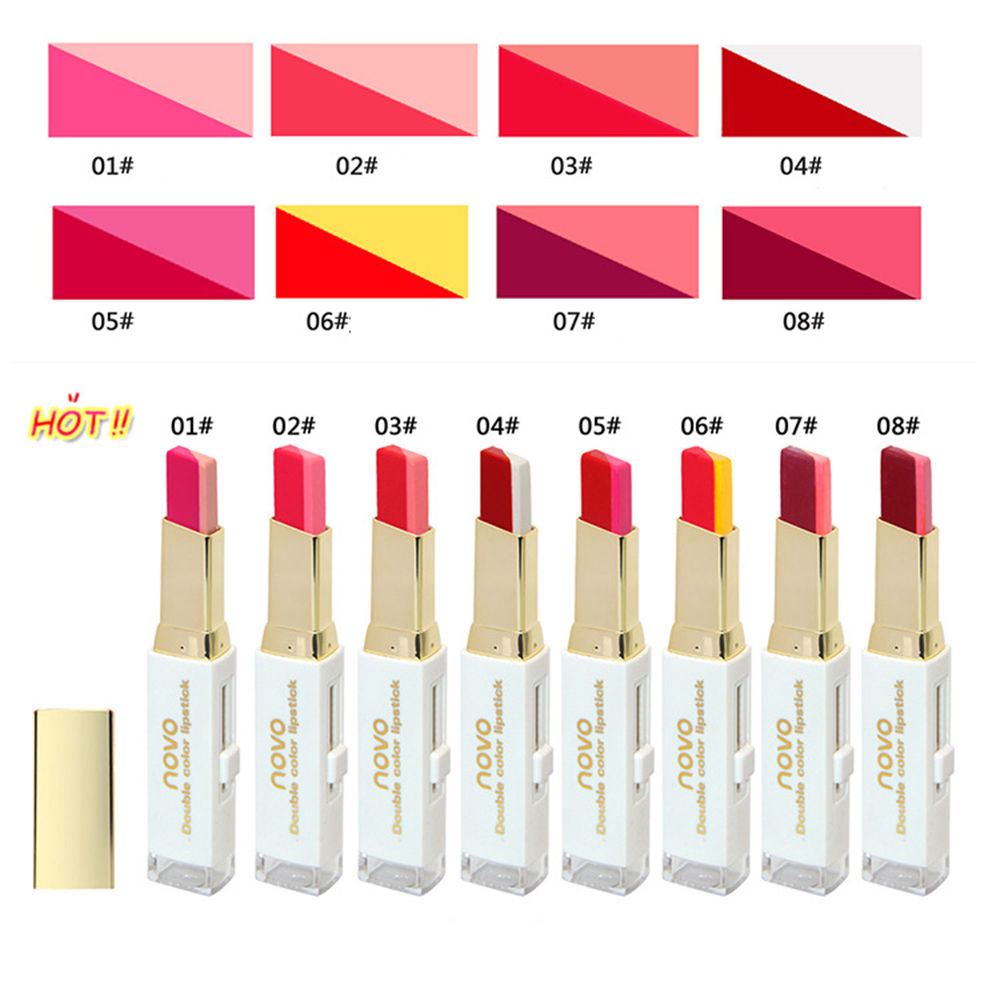 NOVO Double Color Lipstick Moisturizing Gradient Lipstick ลิปทูโทน