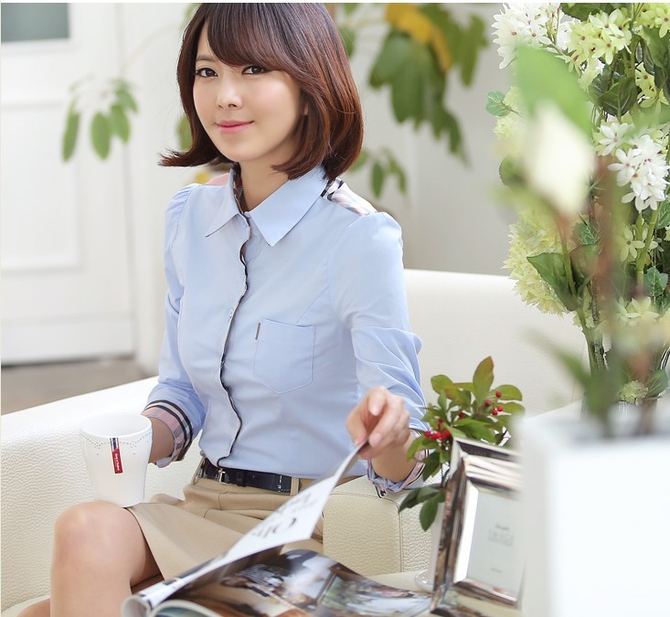 เสื้อเชิ้ตทำงานผู้หญิงแขนยาว สีฟ้า ไหล่ลายสก๊อต