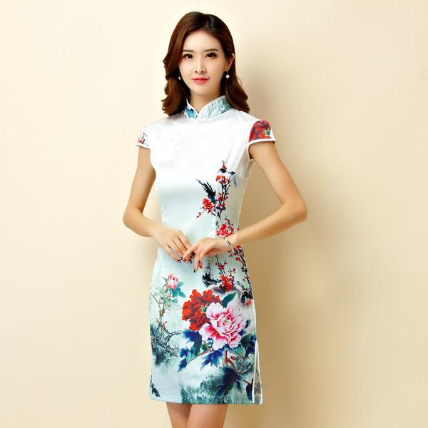 ชุดกี่เพ้าสั้นผ้าซาตินยืดสไตล์คลาสสิก คอจีน กระดุมจีน แขนในตัว สีพลัม (XL,2XL,3XL) JK-9869