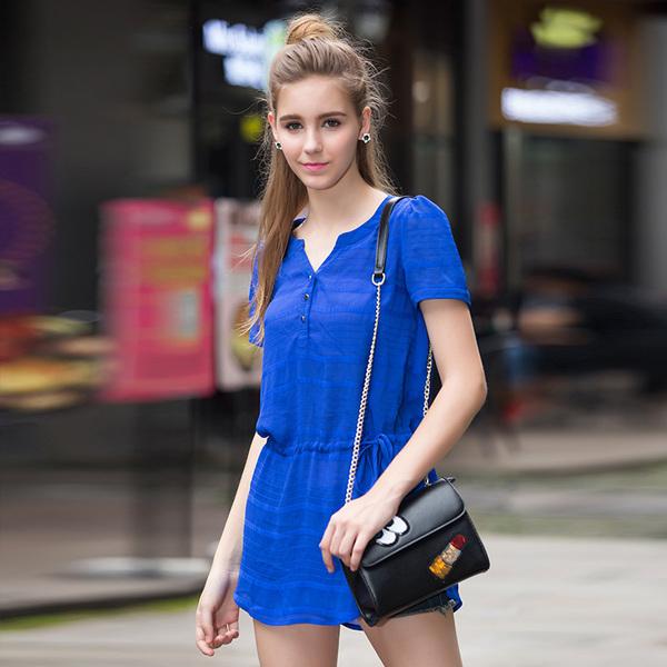 เสื้อทีเชิ้ตไซส์ใหญ่ ใส่สบาย แขนสั้น สีน้ำเงิน/สีบานเย็น (XL,2XL,3XL,4XL,5XL)