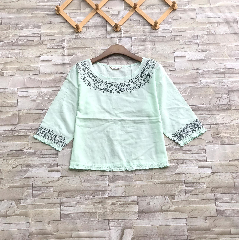 ส่ง:เสื้อผ้าฝ้ายนิ่มเนื้อดีแต่งปักแต่งริมระบายเล็กๆแบบน่ารัก/อก37