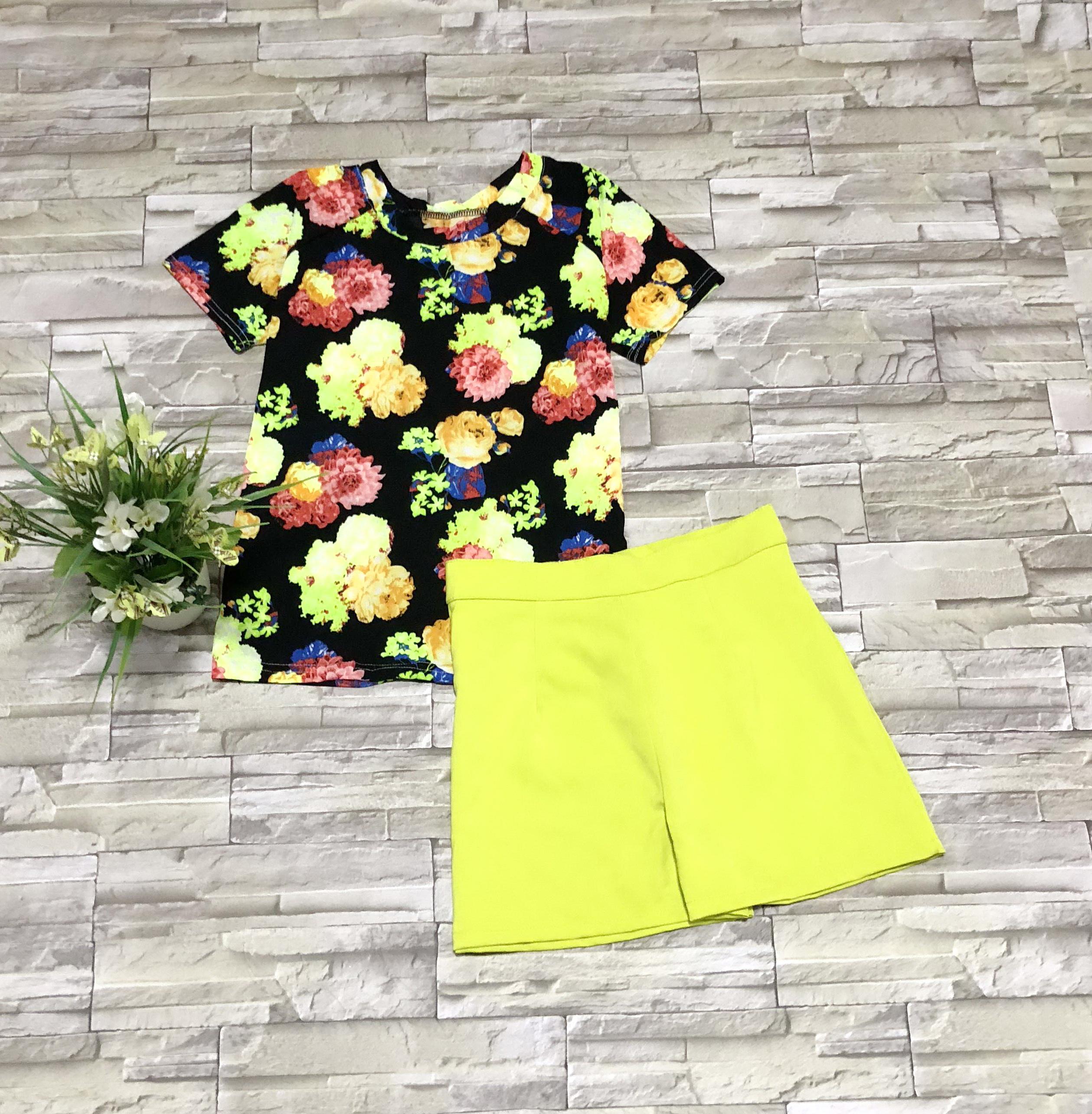 ส่ง:เช็ท2ชิ้น/เสื้อดอกสดใสอก36+กางเกงฮานาโกะเอว28
