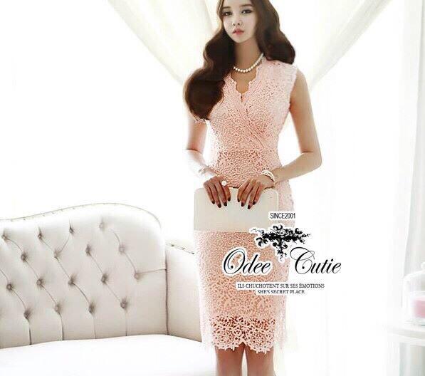 Elegance lace v-neck dress