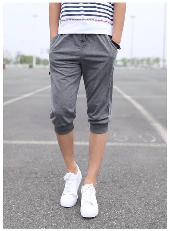 กางเกงวอร์มขา5ส่วน สีเทาเข้ม ปลายขาจั้ม แฟชั่นผู้ชายสไตล์เกาหลี เทรนฮิตมาใหม่ ใส่เท่ห์ ใส่สบาย ขากางเกงอีกด้านแต่งซิป