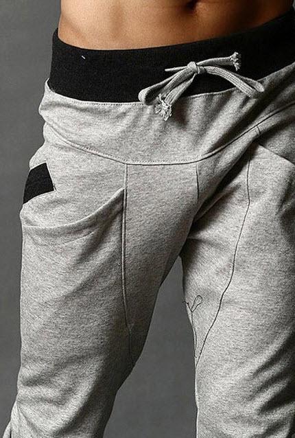 พร้อมส่ง กางเกงขายาว ผู้ชาย สีเทาเข้ม ผ้าcotton กางเกงวอร์มแฟชั่น