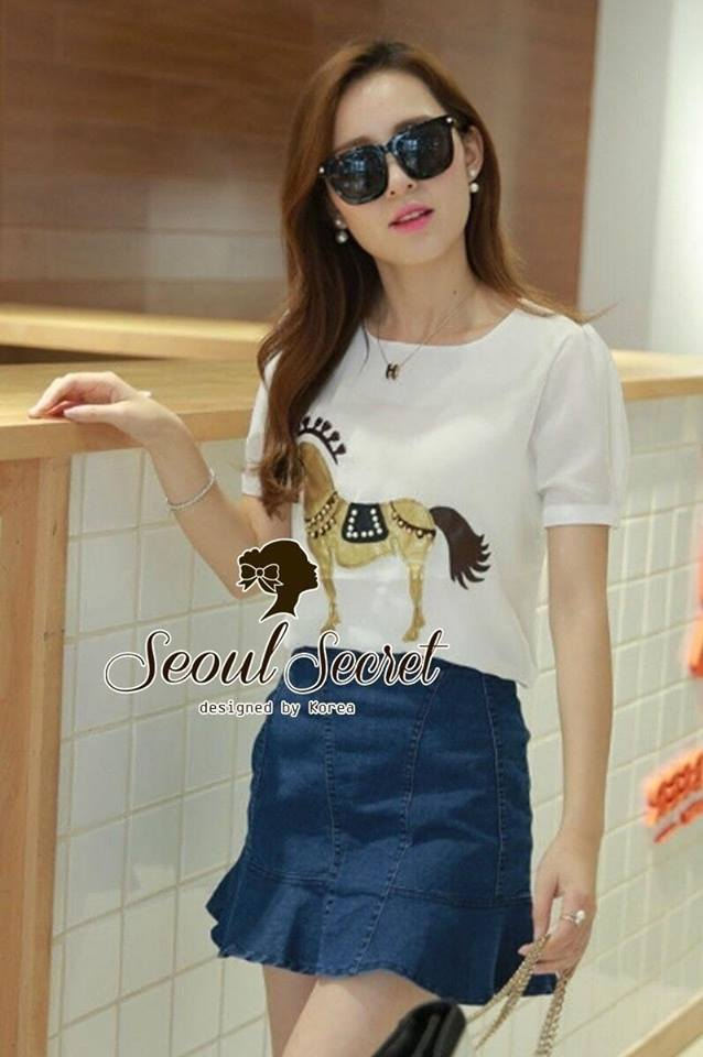 Nifty White Blouse Golden Gee-Gee match with Denik Skirt by Seoul Secret