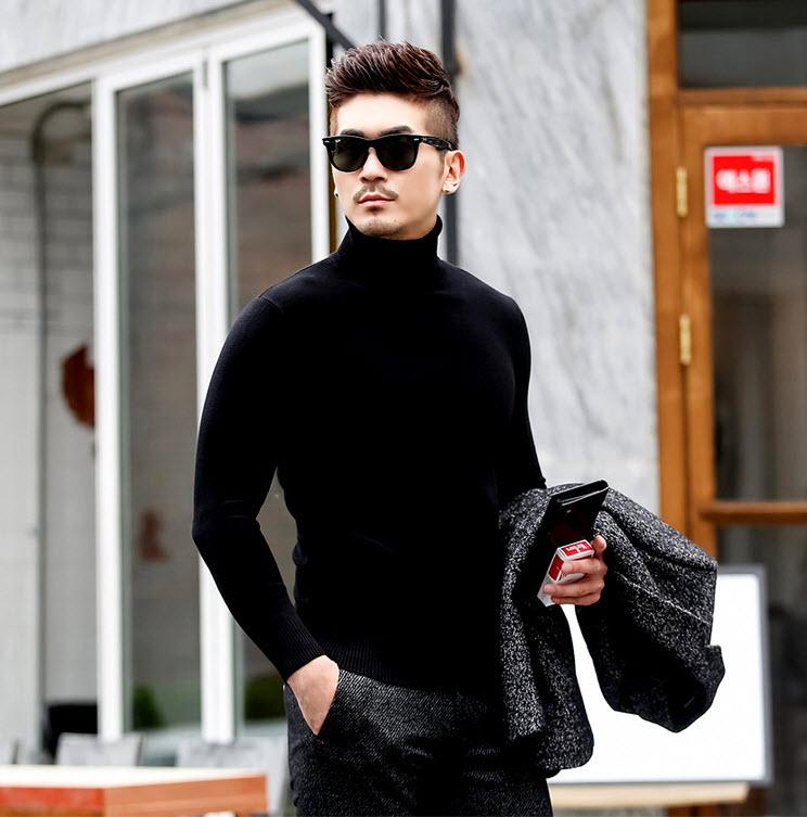 พร้อมส่ง เสื้อคอเต่า ผู้ชาย สีดำ แขนยาว ใส่พอดีตัว เสื้อกันหนาว เนื้อผ้าดี ผ้านิ่ม