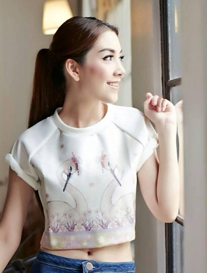 ( พร้อมส่ง) เสื้อสุดชิค แพทเทิร์นต้นแบบ พิมพ์ลายนกฟลามิงโก้ลวดลายชัดเจน ทรงสวยเหมือนแบบค่ะ