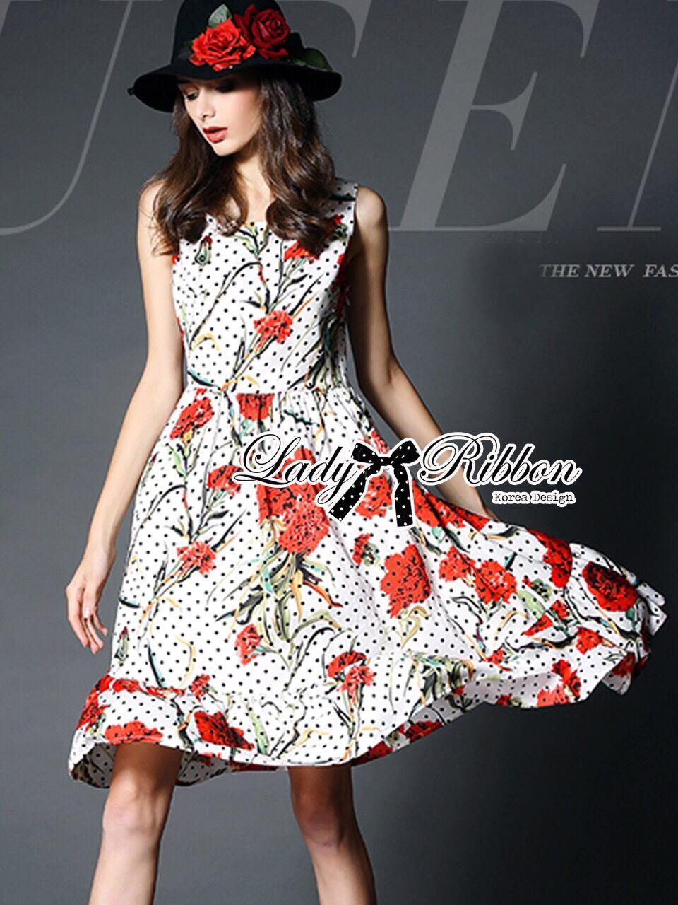 ชุดเดรสเกาหลี พร้อมส่งเดรสแขนกุดลายจุดพิมพ์ลายดอกไม้สีแดงสไตล์Dolce & Gabbana