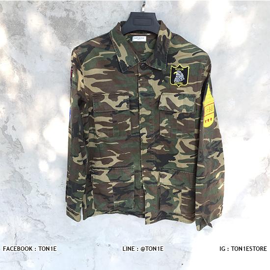 เสื้อแจ็คเก็ตSaint Laurent Camouflage Military Jacket SS16