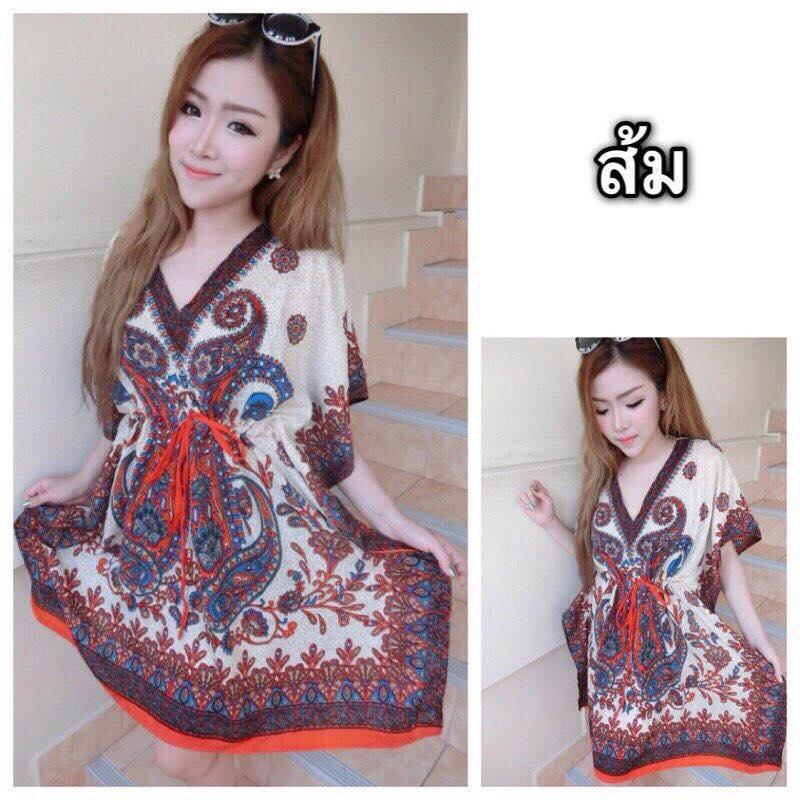 ชุดเดรสเกาหลี ผ้าไม่หนา ใส่สบายมี 3 สี ให้เลือก