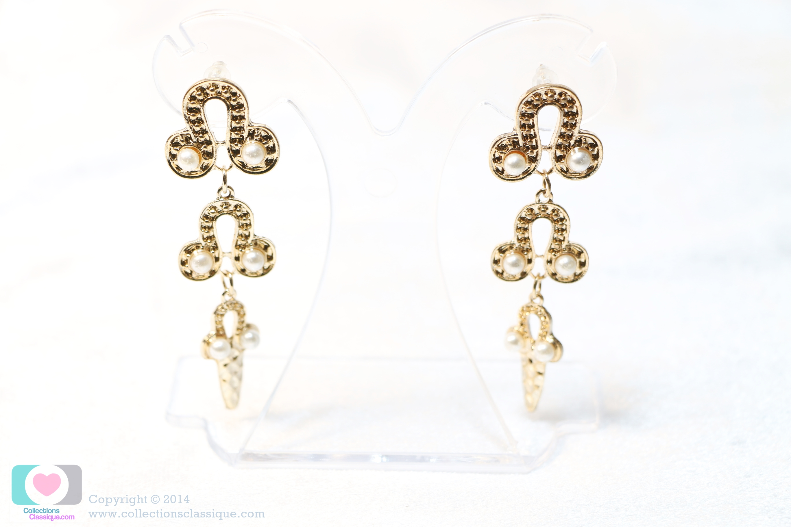 E129006 The Gold with Pearly Chadelier ต่างหูระย้า