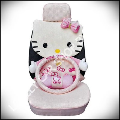 ชุดหุ้มเบาะลาย Hello Kitty แบบเต็มตัวผ้าตาข่าย (ชูมพู)