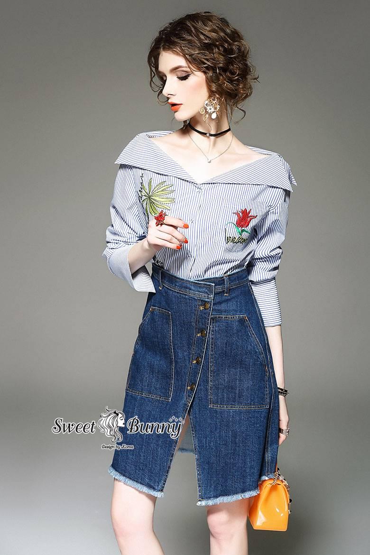 เสื้อผ้าเกาหลีพร้อมส่ง Zara Stripe Shirt With Denim Skirt Set