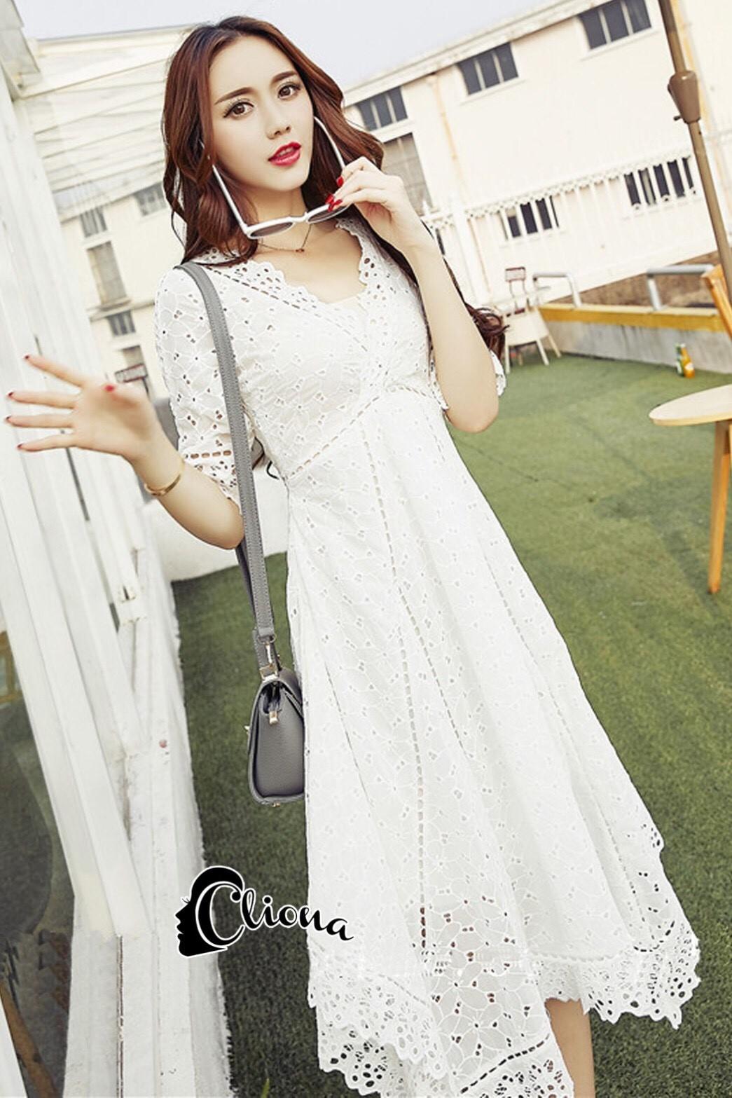 ชุดเดรสเกาหลี พร้อมส่งlong dress สีขาวยาว แขน 3