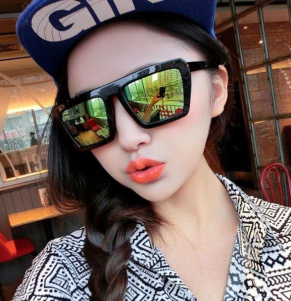 แว่นตากันแดดแฟชั่นเกาหลี กรอบดำ ฟิล์มปรอทสีทองเขียว