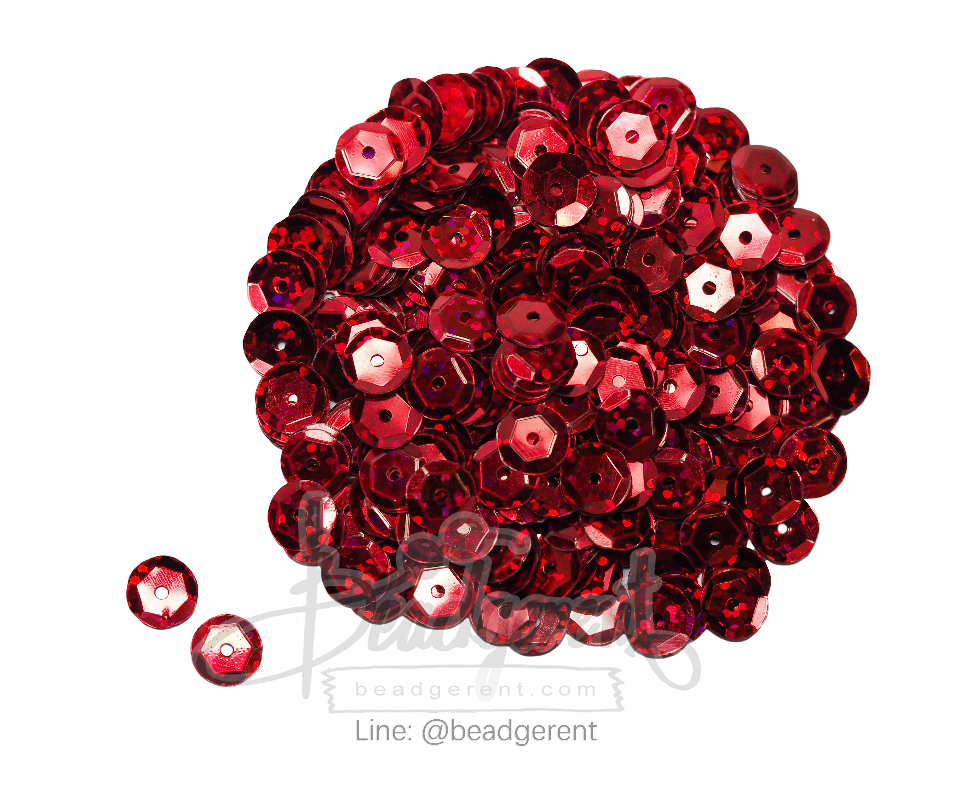 เลื่อมจานดิสโก้ 8มิล สีแดง (120 กรัม)