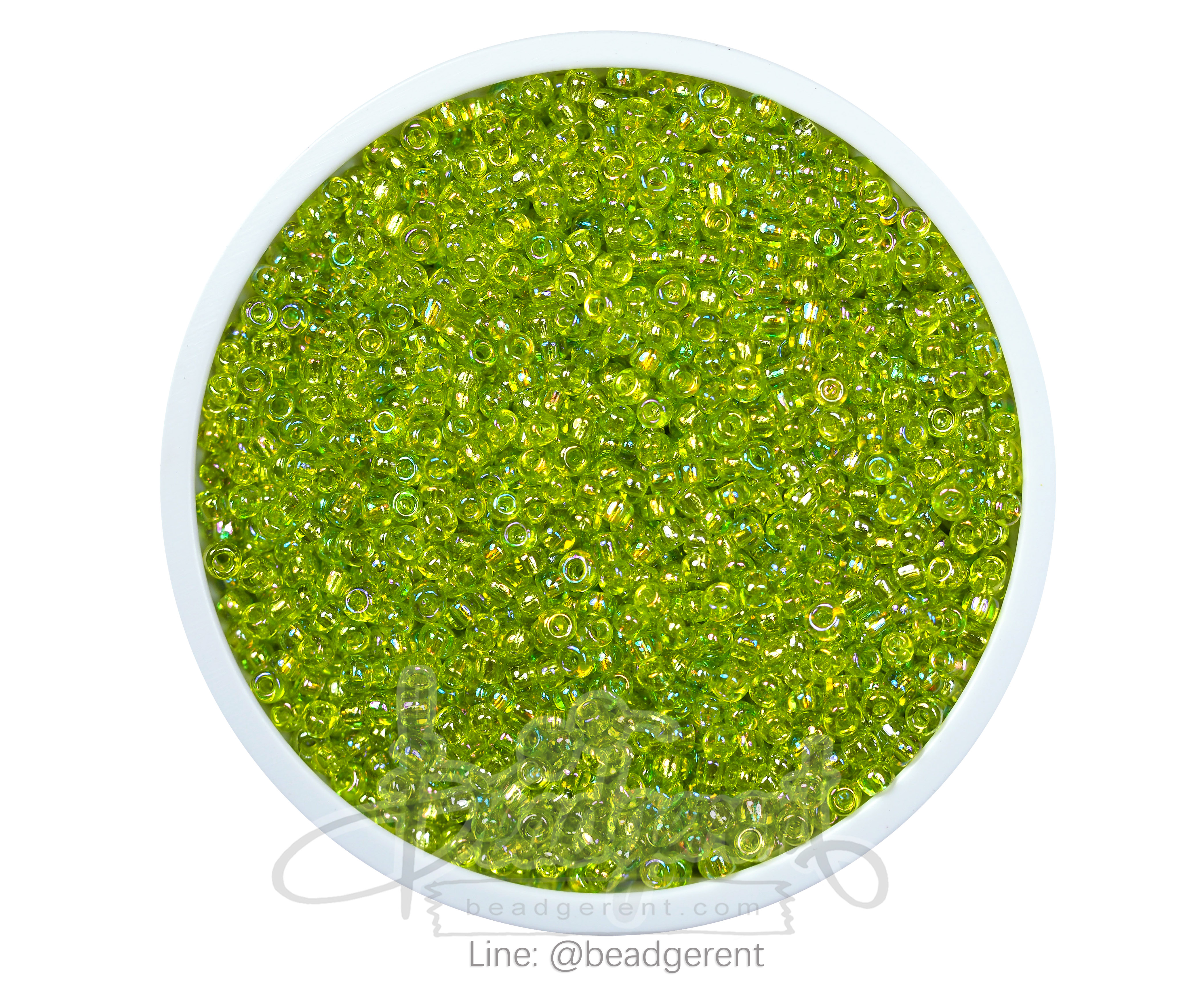 ลูกปัดเม็ดทราย 12/0 โทนรุ้ง สีเขียวตอง (100 กรัม)