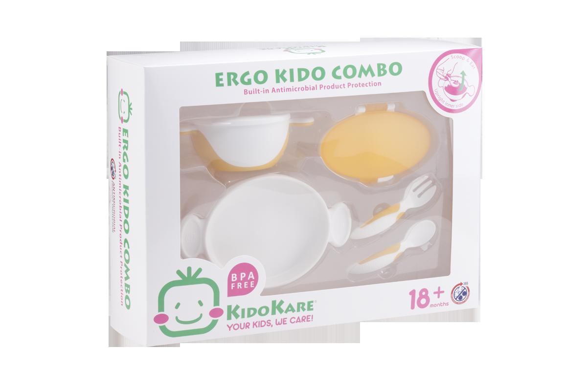 KK-11 ชุดจานชามและช้อนส้อม Ergo Kido Combo (ส้ม)