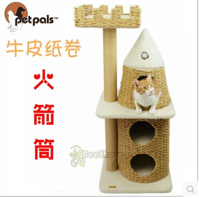 หอคอยแมวน้อยระดาษคราฟท์ คอนโดแมว บันได บ้านอุโมงค์แมว ที่ปีนออกกำลังกาย ความสูง: 115 เซนติเมตร