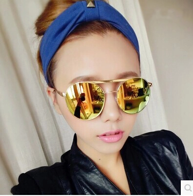 แว่นตากันแดดแฟชั่นเกาหลี กรอบโลหะเลนส์ปรอทสีทอง