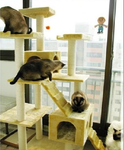 MU0061 คอนโดแมวเจ็ดชั้น ขนาดใหญ่ ต้นไม้แมว มีบ้านอุโมงค์สองชั้น ของเล่นแขวน สูง 180 cm