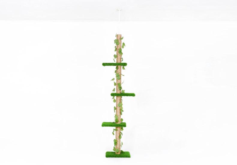 ต้นไม้แมวสูงติดเพดาน สนามหญ้าสีเขียวสดใสมีเถาวัลย์เป็นธรรมชาติเหมือนจริง สำหรับปีนออกกำลังกายและนอนพักผ่อน สูง 230-282 CM