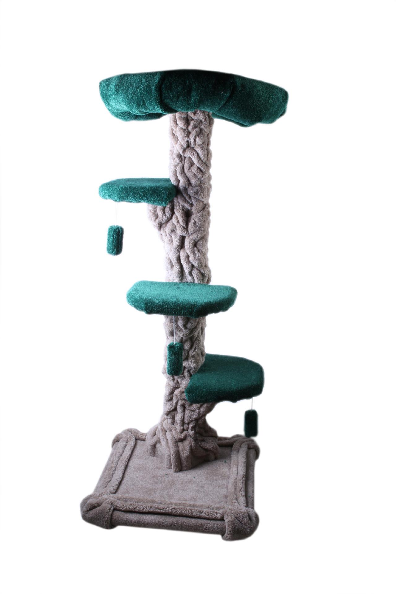 MU0164 คอนโดแมวขนาดใหญ่ รูปทรงต้นไม้ ที่นอนบ้านแมว สีเขียวสดใส