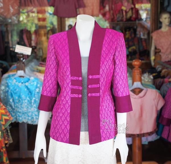 เสื้อคลุมผ้าฝ้ายสุโขทัย แต่งผ้าทอลายมัดหมี่ ไซส์ M