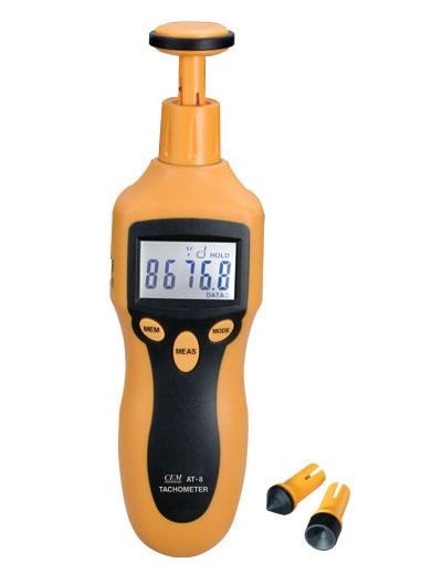 เครื่องวัดความเร็วรอบ (Digital Tachometer) ยี่ห้อCEMรุ่น AT-8 ใช้งานทั้งแบบแสง (Non-contact) และแบบสัมผัส (Contact)