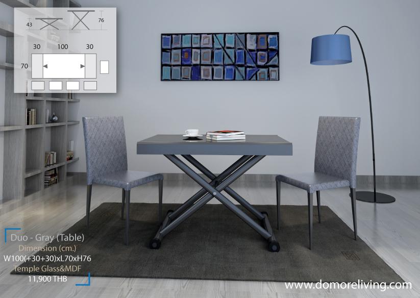 โต๊ะปรับขยาย รุ่น Duo Gray