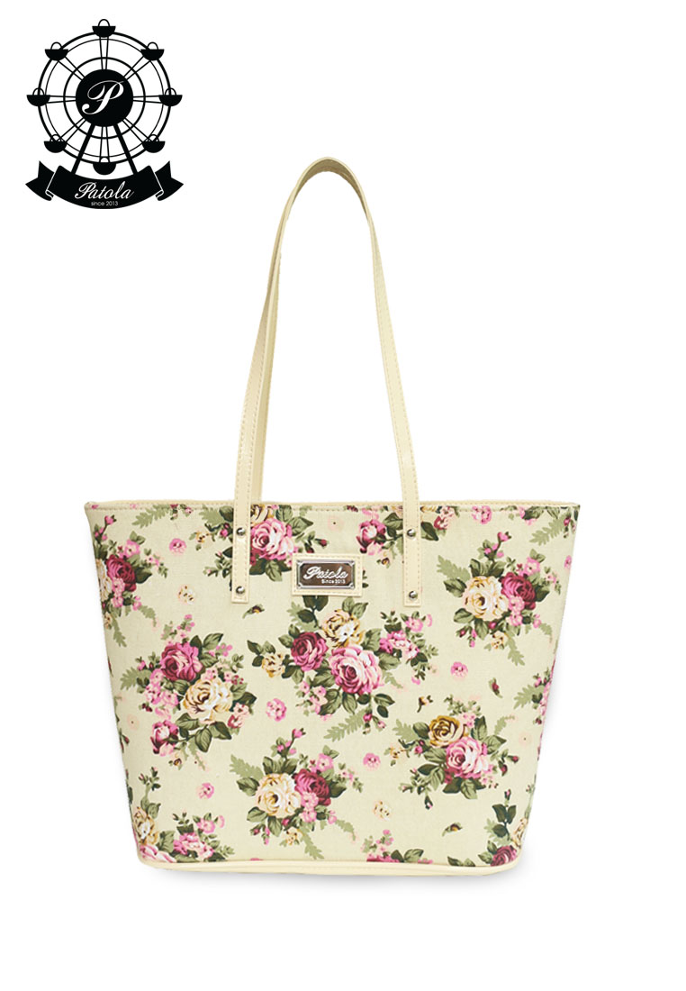 กระเป๋า Patola รุ่น M totebag ผ้าแคนวาส ลายดอกไม้ สีครีม
