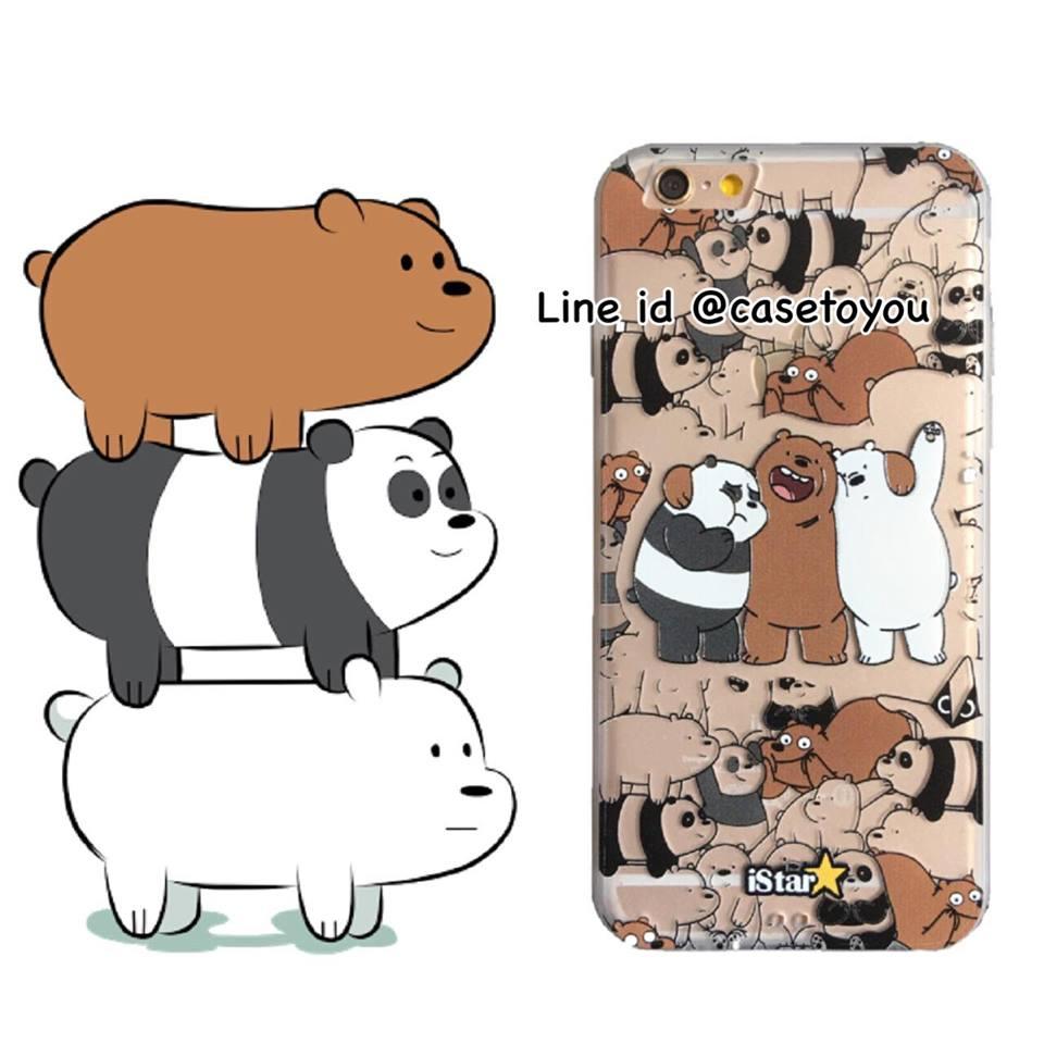 เคสใส สกรีนลายเส้นนูน Bare Bear iPhone 6 Plus/ 6S Plus