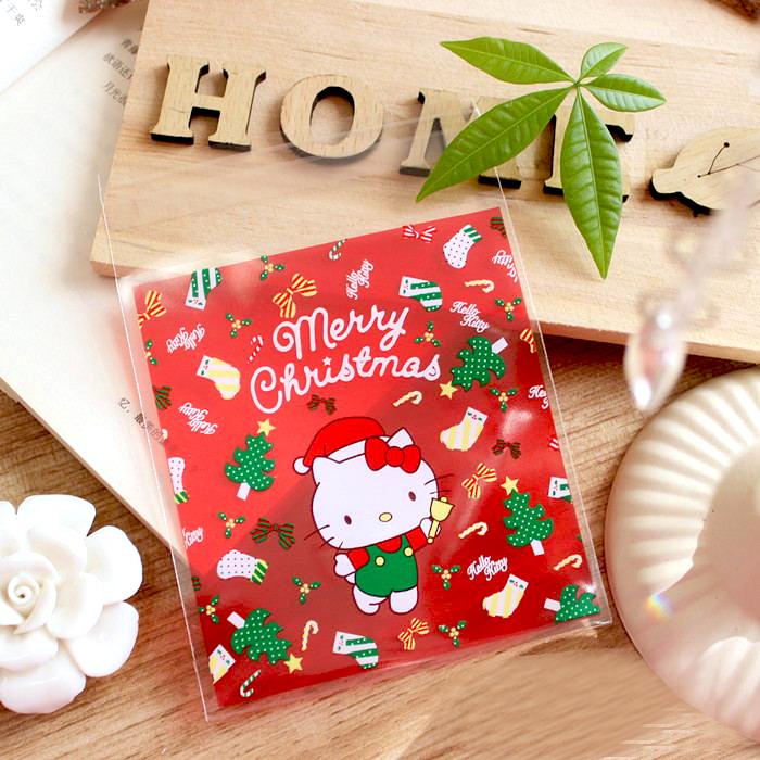 ถุงกาวคุ้กกี้สีแดง Kitty Merry christmas