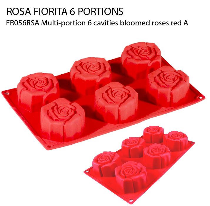 FR056RSA Multi-portion 6 cavities bloomed roses red A