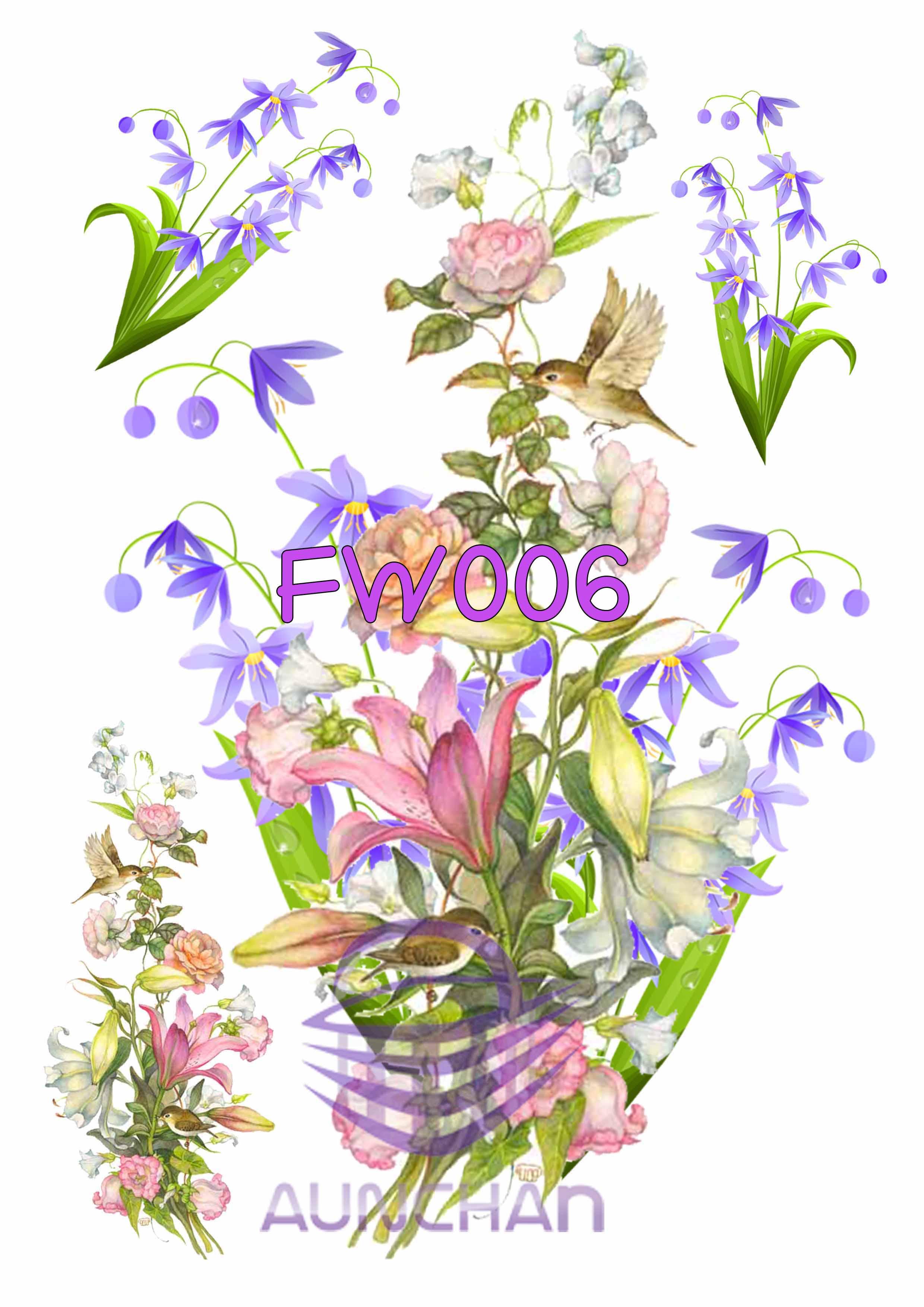 FW006 กระดาษแนพกิ้น 21x30ซม. ลายดอกไม้