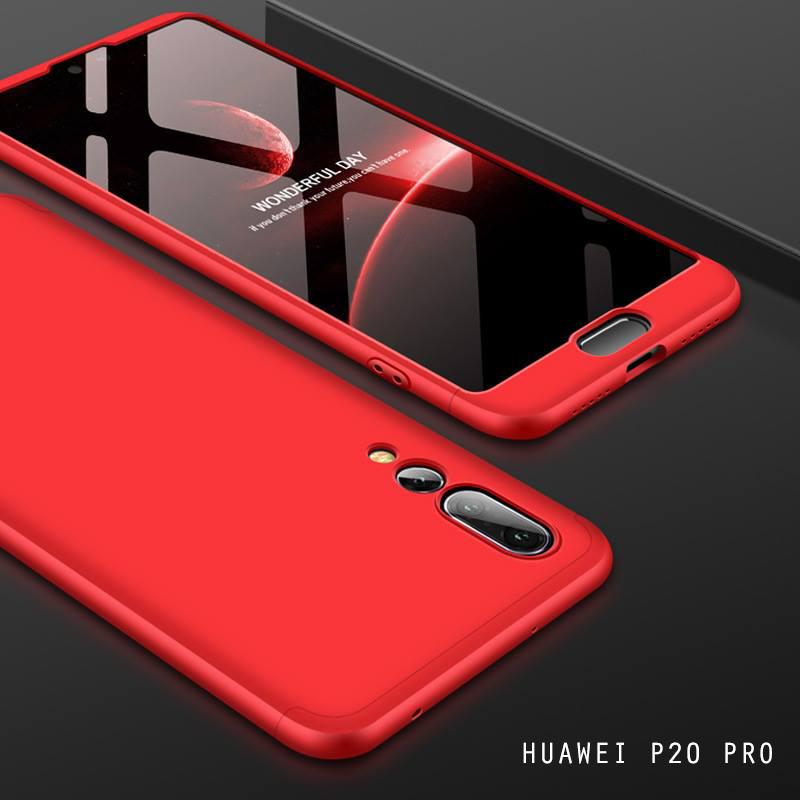 เคส Huawei P20 PRO เคสแข็งแบบ 3 ส่วน ครอบคลุม 360 องศา (สีแดง - แดง)