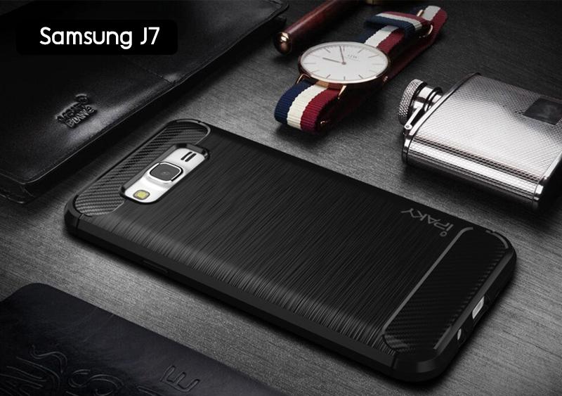 เคส Samsung Galaxy J7 เคส iPaky เคสนิ่มเกรดพรีเมี่ยม (Texture ลายโลหะขัด) กันลื่น ลดรอยนิ้วมือ สีดำ
