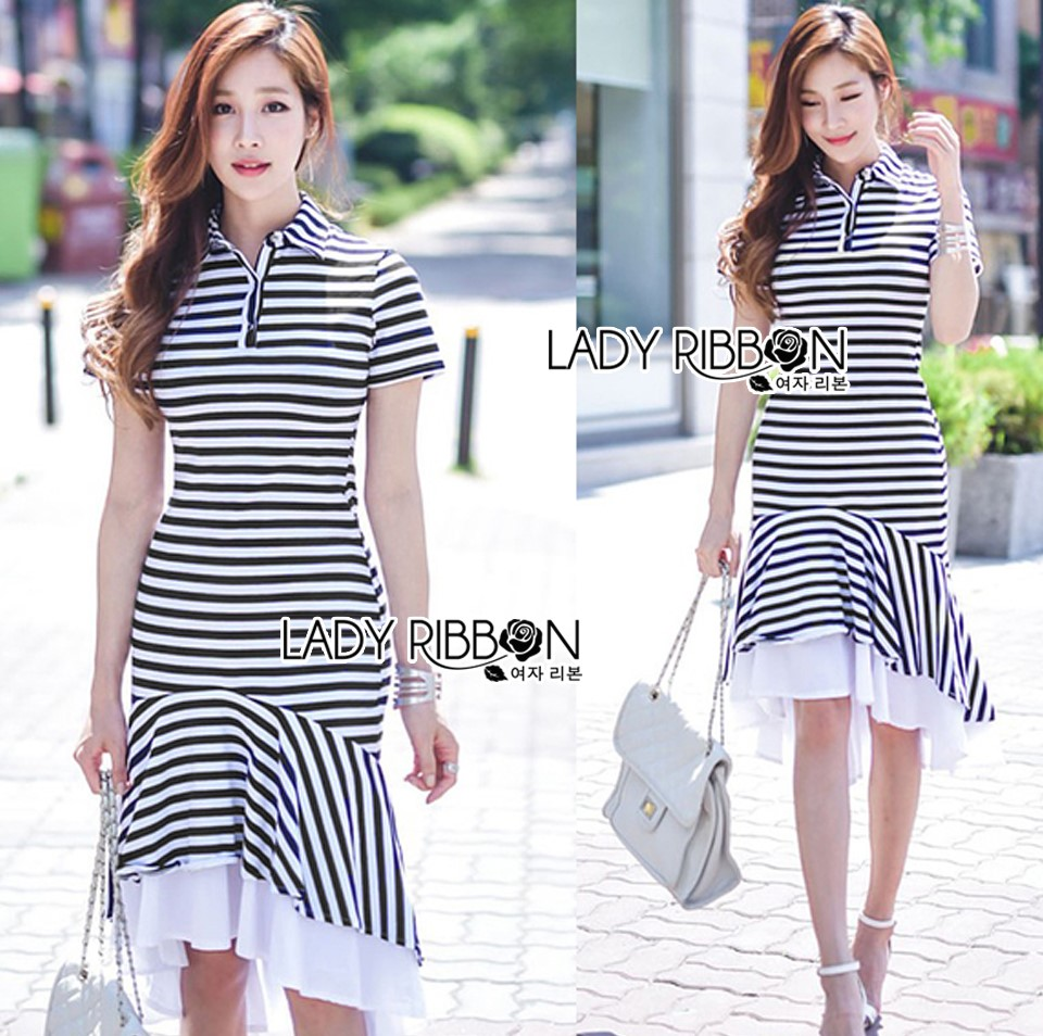 Lady Minimal Chic Striped Collared Peplum Dress L271-7503