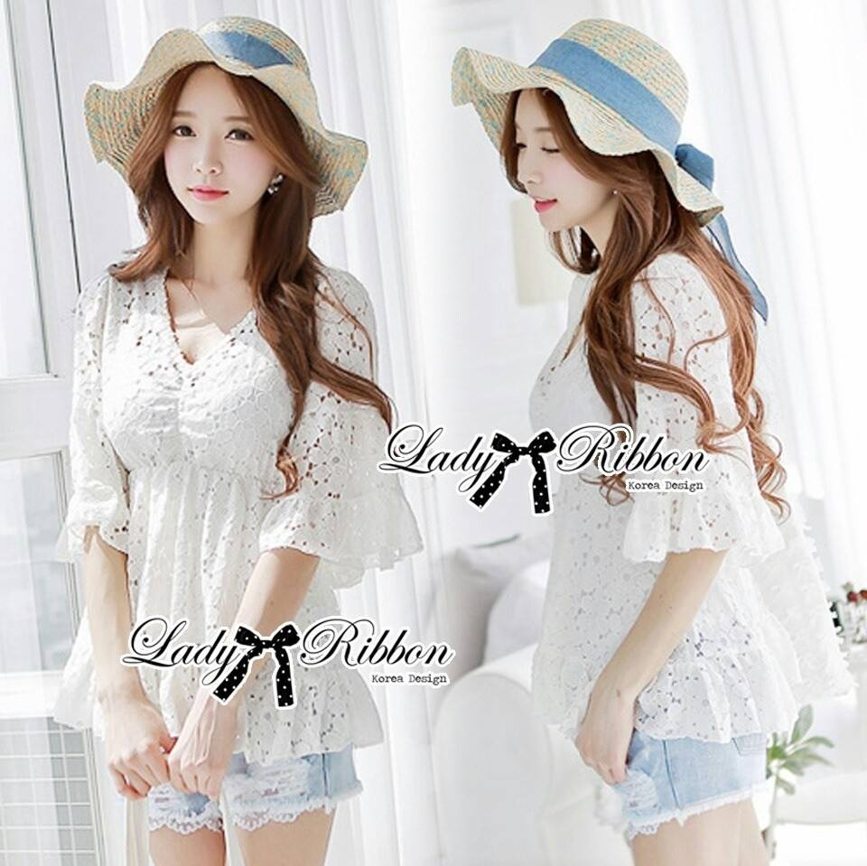 Lady Ray Sweet Feminine Lace Ruffle Blouse L157-65C13